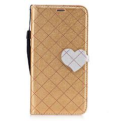 Недорогие Чехлы и кейсы для Huawei серии Y-Для Бумажник для карт Кошелек со стендом Флип С узором Магнитный Кейс для Чехол Кейс для Один цвет Геометрический рисунок С сердцем