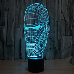 Iron Man 3 d vetítőlámpa vezetett akril érintés látható fény