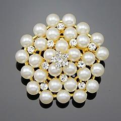 Dames Meisjes Broches Bloemenstijl Bloemen Bloemen  Parel Kristal Legering Bloemvorm Sieraden Voor Bruiloft Feest Speciale gelegenheden