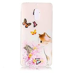 Недорогие Чехлы и кейсы для Nokia-Кейс для Назначение Nokia Прозрачный С узором Рельефный Кейс на заднюю панель Кот Бабочка Цветы Мягкий ТПУ для Nokia 6