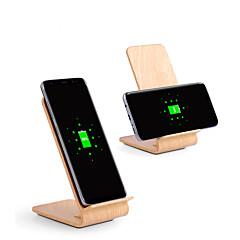 abordables Novedades-Soporte de madera del cargador inalámbrico rápido 10w para iphone xs iphone xr xs max iphone 8 samsung s9 plus s8 note 8 o receptor incorporado qi teléfono inteligente