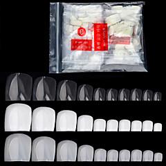 500 stuks / verpakking nep kunstmatige acryl valse teen nagels tips natuurlijke witte transparante teennagels voet manicure schoonheid