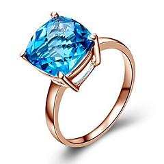 preiswerte Ringe-Damen Synthetischer Diamant Ring - Roségold, Kubikzirkonia, versilbert Modisch 5 / 6 / 7 / 8 Blau / Champagner Für Geburtstag Herzliche Glückwünsche Geschenk