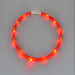 Dog Collar LED Lights Rechargeable Strobe/Flashing Solid Silicone Fuchsia Red Green Blue Pink