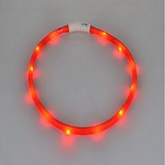 voordelige Hondenhalsbanden, tuigjes & riemen-Kat Hond Kraag LED verlichting Oplaadbaar Flits Effen Siliconen Geel Rood Groen Blauw Roze