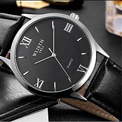 baratos Relógios de Homem-Masculino Relógio de Moda Quartzo Couro Banda Casual Preta
