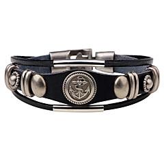 preiswerte Armbänder-Herrn Geometrisch Lederarmbänder - Leder Retro, Punk, Rockig Armbänder Schwarz / Braun Für Weihnachts Geschenke Party Jahrestag