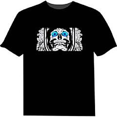 baratos Camiseta com LED-Camiseta com LED 100% Algodão 2 Baterias AAA