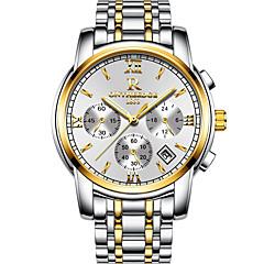 preiswerte Tolle Angebote auf Uhren-Herrn Armbanduhr Japanisch Kalender / Wasserdicht / Nachts leuchtend Edelstahl Band Charme / Luxus / Freizeit Schwarz / Weiß / Zwei jahr