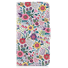 voordelige Galaxy A3 Hoesjes / covers-hoesje Voor Samsung Galaxy A5(2017) A3(2017) Portemonnee Kaarthouder met standaard Flip Volledige behuizing Bloem Hard PU-leer voor A3