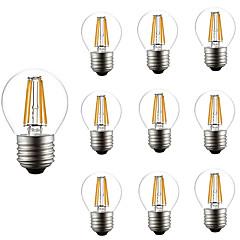 お買い得  LED 電球-10個 4W 360lm E26 / E27 フィラメントタイプLED電球 G45 4 LEDビーズ COB 調光可能 装飾用 温白色 220-240V
