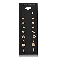 preiswerte Ohrringe-Damen Ohrstecker Kreolen Schmuck Basis Einzigartiges Design Geometrisch Quadrat Kreis Doppelschicht Vintage individualisiert Hypoallergen