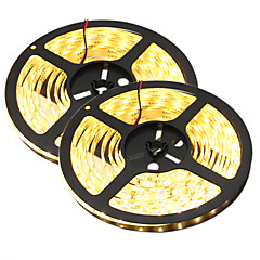 olcso LED szalagfények-HKV LED-es szalagfények 300 LED Meleg fehér Fehér Cuttable Vízálló Öntapadós Összekapcsolható DC 12 V DC 12V