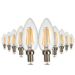 preiswerte LED-Birnen-YWXLIGHT® 10 Stück 4W 300-400lm E12 LED Kerzen-Glühbirnen C35 4 LED-Perlen COB Abblendbar Dekorativ Warmes Weiß 110-130V