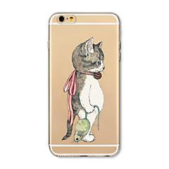 Недорогие Кейсы для iPhone 4s / 4-Кейс для Назначение Apple iPhone X / iPhone 8 Plus Прозрачный / С узором Кейс на заднюю панель Кот / Животное Мягкий ТПУ для iPhone X / iPhone 8 Pluss / iPhone 8