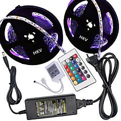 tanie Zestawy oświetlenia-HKV 10 m Zestawy oświetlenia 300 Diody LED 5050 SMD RGB 100-240 V
