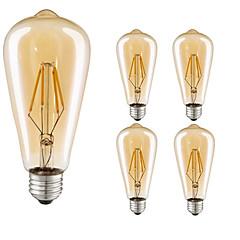 cheap LED Bulbs-5pcs 4W 360lm E26 / E27 LED Filament Bulbs ST64 4 LED Beads COB Decorative Warm White 220-240V