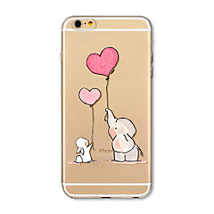 hoesje Voor Apple iPhone X iPhone 8 Plus Transparant Patroon Achterkantje Balloon Olifant Cartoon Zacht TPU voor iPhone X iPhone 7s Plus