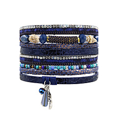 abordables Bijoux pour Femme-Femme Perles Bracelets en cuir - Cuir Bohème, Naturel, Mode Bracelet Marron / Rouge / Bleu Pour Mariage Anniversaire Soirée