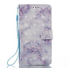 Недорогие Чехлы и кейсы для LG-Кейс для Назначение LG K8 LG LG K7 Бумажник для карт Кошелек со стендом Флип Магнитный С узором Чехол Мрамор Твердый Кожа PU для LG K10