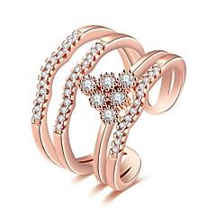 Női Gyűrű Kocka cirkónia Alap Karika Egyedi Tetoválás Természet Geometriai Kör Barátság Oldalt Multi-módon kell viselni Kétoldalú aranyos