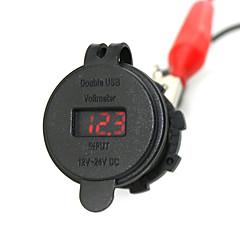 Недорогие Автоэлектроника-iztoss 2.1a& 2.1a водонепроницаемый двойной USB зарядное устройство телефона зарядное гнездо питания с вольтметром красным светом