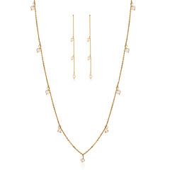 お買い得  ジュエリーセット-女性用 真珠 ジュエリーセット - 真珠, 純銀製 シンプルなスタイル, ファッション 含める ドロップイヤリング ネックレス ゴールド 用途 贈り物 日常