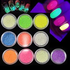 Χαμηλού Κόστους -10bottles / σύνολο ζεστό μόδας υπέροχο καραμέλα χρώματα λάμψη σκόνη άμμου φθορισμού σκόνη λάμψη σε σκούρο καρφί ομορφιά diy αφρώδη