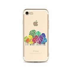 Недорогие Кейсы для iPhone 6-Кейс для Назначение Apple iPhone X iPhone 8 Plus Прозрачный С узором Кейс на заднюю панель Градиент цвета дерево Мягкий ТПУ для iPhone X