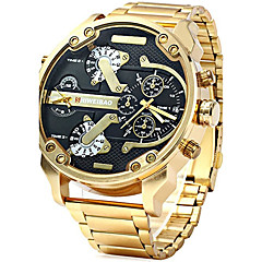 cheap Watch Deals-Men's Military Watch Chinese Calendar / date / day / Creative / Dual Time Zones Stainless Steel Band Charm / Luxury / Casual Black / Gold / Large Dial
