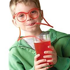 2adet gözlük saman komik yumuşak gözlük saman benzersiz esnek içme tüpü çocuklar saman çubuğu accesso (rastgele renk)