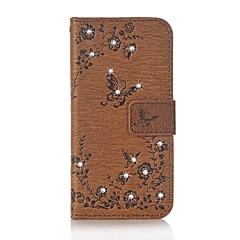 Недорогие Кейсы для iPhone 7-Кейс для Назначение Apple iPhone 7 Plus iPhone 7 Бумажник для карт Кошелек Стразы со стендом Флип Рельефный Чехол Бабочка Цветы Твердый