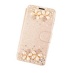 Для Кейс для iPhone 5 Стразы / со стендом / Флип Кейс для Чехол Кейс для Цветы Твердый Искусственная кожа для AppleiPhone 7 Plus / iPhone
