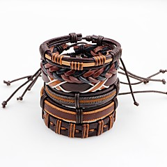 cheap Bracelets-Men's Leather Leather Bracelet - Multi-ways Wear Fashion Irregular Brown Bracelet For Stage Street
