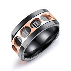 olcso Férfi ékszerek-Férfi Band Ring - Circle Shape Vintage / elegáns / Divat Matt fekete Gyűrű Kompatibilitás Esküvő / Parti / Eljegyzés