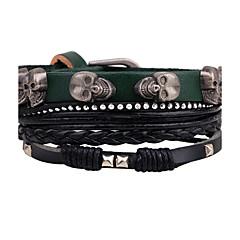 abordables Bijoux pour Femme-Homme Rivet Bracelets Bracelets en cuir - Cuir Crâne Personnalisé, Rock, Mode Bracelet Vert Pour Décontracté Scène Plein Air