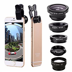 5-In-1 Set Fish Eye Wide Angle Marco Telephoto Lens CPL Lens For iPhone 7 6/6S Plus