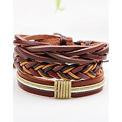 Муж. Жен. Wrap Браслеты Кожаные браслеты Панк Регулируется По заказу покупателя Rock Multi-Wear способы Кожа В форме линии Бижутерия