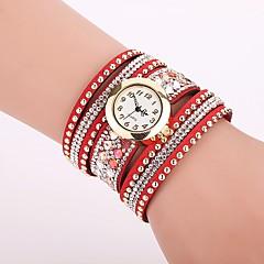 Dame Modeur Armbåndsur Unik Creative Watch Casual Ur Simuleret Diamant Ur Kinesisk Quartz Imiteret Diamant PU BåndCharm Armbånd Afslappet