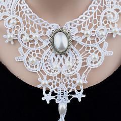 preiswerte Halsketten-Damen Halsketten / Anhängerketten / Statement Ketten - Künstliche Perle Blume Einzigartiges Design, Anhänger Stil, Klassisch Weiß Modische Halsketten Für Weihnachten, Hochzeit, Party