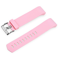 Replacement Elastomer Leather Watchband Wristband for Fitbit Charge 2 -pink