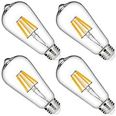 preiswerte LED-Birnen-4pcs 6W 580lm LED Glühlampen 6 LED-Perlen COB Abblendbar Dekorativ Warmes Weiß 110-130V