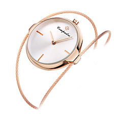 Women's Kid's Wrist watch Chinese Quartz Rose Gold Plated Alloy Band Bangle Unique Creative Casual Silver Rose Gold