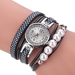 preiswerte Damenuhren-Damen Armband-Uhr Quartz Kalender PU Band Analog Charme Freizeit Perlen Schwarz / Weiß / Blau - Purpur Blau Rosa