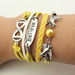preiswerte Armbänder-Herrn Damen Wickelarmbänder Lederarmbänder - Leder Vogel, Unendlichkeit Retro, Böhmische Armbänder Gelb Für Weihnachten Hochzeit Party