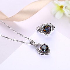 Women's Necklace Ring AAA Cubic Zirconia Luxury Bling Bling Cubic Zirconia Gold Plated Heart Necklace Ring For Wedding Party Ceremony