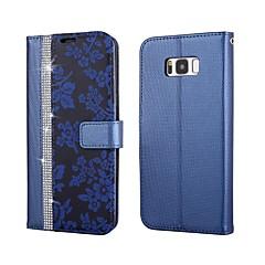 Χαμηλού Κόστους Galaxy S6 Edge Θήκες / Καλύμματα-tok Για Samsung Galaxy S8 Plus S8 Θήκη καρτών Πορτοφόλι Στρας με βάση στήριξης Ανοιγόμενη Πλήρης Θήκη Λουλούδι Σκληρή PU δέρμα για S8