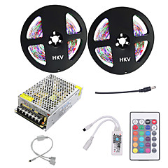 1Set HKV® 10M(2x5m) 60W 3528SMD 600LED RGB LED Strip Light NO-Waterproof LED Strip Mini WiFi Controller LED RGB Controller 5A Power Supply DC 12V