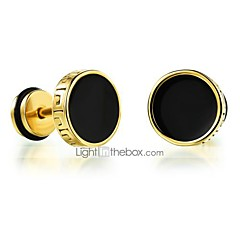 cheap Earrings-Men's Stud Earrings Fashion Rock Titanium Steel Round Jewelry Gold Silver Daily Casual Costume Jewelry