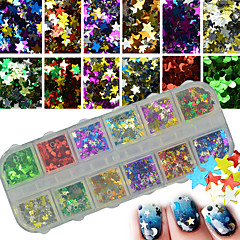 12colors / box mix glitter paljetit tähdet paillette loistava nail art decoration